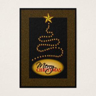 Cartão De Visitas Preto do Natal e Tag do presente da árvore de