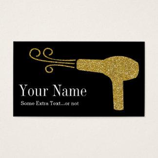 Cartão De Visitas Preto do salão de beleza do cabeleireiro do brilho