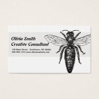 Cartão De Visitas Preto do vintage do desenho da abelha de rainha