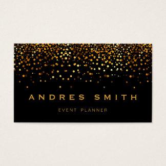 Cartão De Visitas Preto dos confetes da folha do falso do brilho do