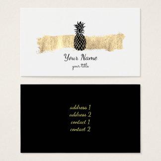 Cartão De Visitas preto e abacaxi do curso da pintura do ouro