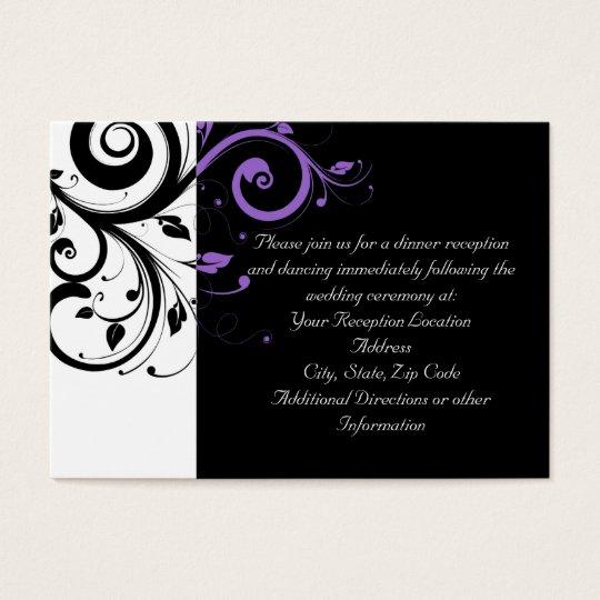 Cartão De Visitas Preto e branco com acento roxo do redemoinho