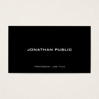 Cartão De Visitas Preto e branco profissional liso à moda moderno