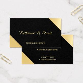 Cartão De Visitas Preto e geométrico elegante do ouro
