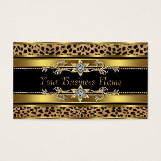 Cartão De Visitas Preto e leopardo do ouro