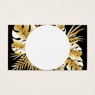 Cartão De Visitas Preto e modelo tropical elegante das folhas do