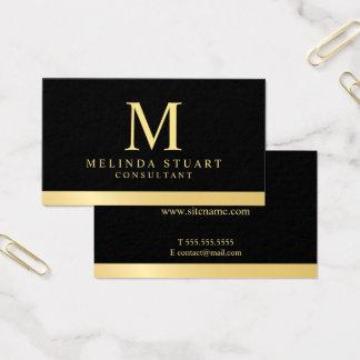 Cartão De Visitas Preto e monograma elegante do ouro