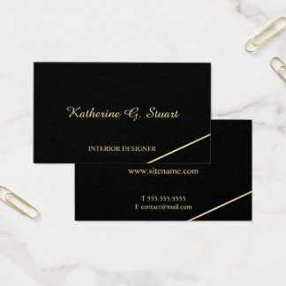 Cartão De Visitas Preto e ouro elegantes