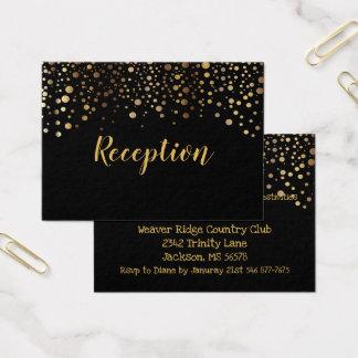 Cartão De Visitas Preto e pontos dos confetes do ouro - recepção