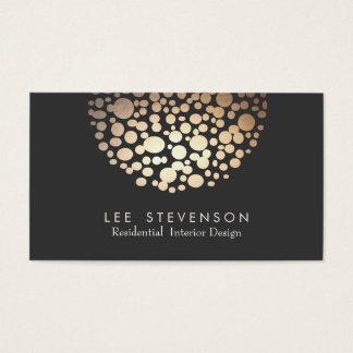 Cartão De Visitas Preto elegante da esfera do ouro do círculo