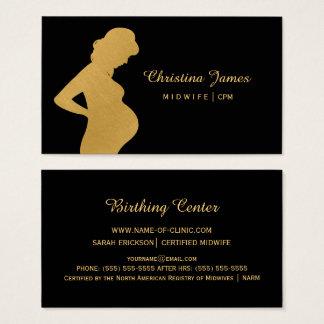 Cartão De Visitas Preto elegante da parteira e mulher gravida do