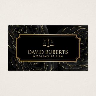 Cartão De Visitas Preto elegante & ouro do advogado do advogado