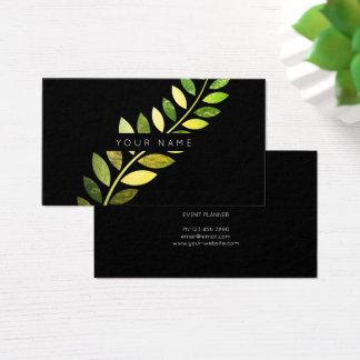 Cartão De Visitas Preto esmeralda verde botânico da samambaia do