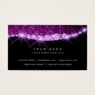 Cartão De Visitas Preto Glam do brilho Sparkly Amethyst roxo do