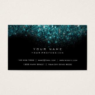 Cartão De Visitas Preto Glam do brilho Sparkly azul de turquesa do