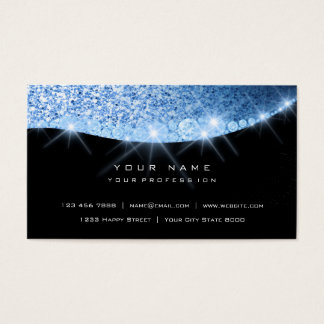 Cartão De Visitas Preto Glam do brilho Sparkly azul do diamante do