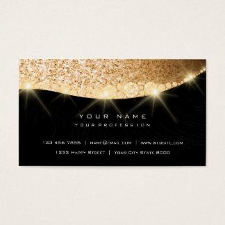 Cartão De Visitas Preto Glam do brilho Sparkly dourado do diamante