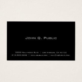 Cartão De Visitas Preto liso elegante simples profissional