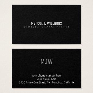Cartão De Visitas preto liso profissional moderno minimalista