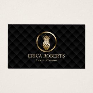 Cartão De Visitas Preto luxuoso do abacaxi moderno & planejador de
