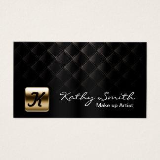 Cartão De Visitas Preto luxuoso & ouro do maquilhador elegantes