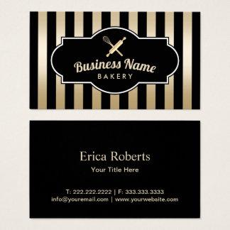 Cartão De Visitas Preto moderno do cozinheiro chefe de pastelaria da
