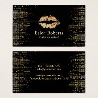 Cartão De Visitas Preto moderno do maquilhador dos lábios do ouro &