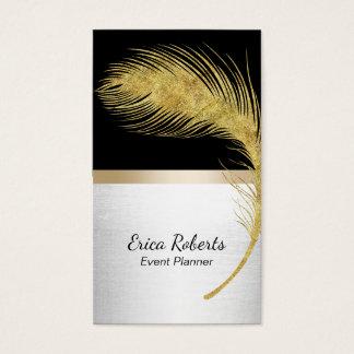 Cartão De Visitas Preto moderno & ouro da pena do pavão do