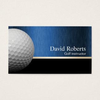 Cartão De Visitas Preto profissional & azul do instrutor do golfe