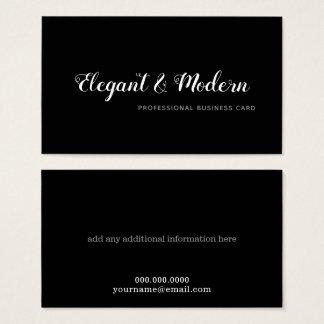 Cartão De Visitas preto profissional da escrita elegante e moderna