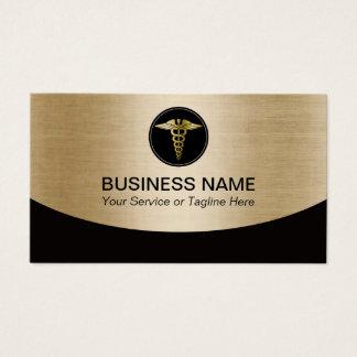 Cartão De Visitas Preto profissional médico & ouro