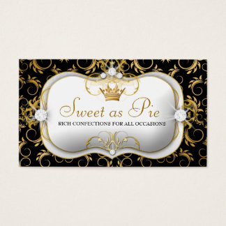 Cartão De Visitas preto rico divino dourado de 311-Ciao Bella