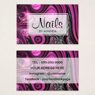 Cartão De Visitas Preto roxo de NailArt do Pedicure do artista do