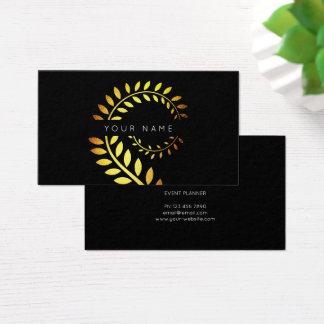 Cartão De Visitas Preto serpentino dourado botânico da samambaia do