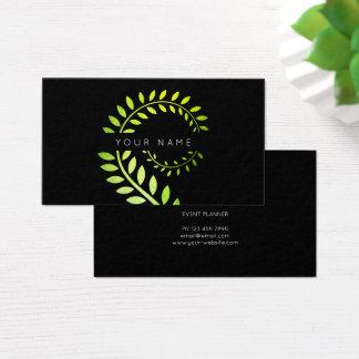 Cartão De Visitas Preto serpentino verde botânico da samambaia do