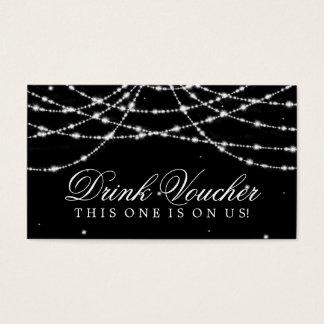 Cartão De Visitas Preto Sparkling Wedding da corda do comprovante da