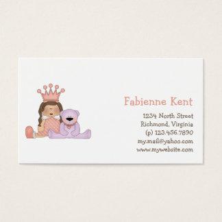 Cartão De Visitas Princesa cor-de-rosa · Princesa & ursinho
