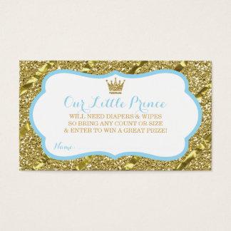 Cartão De Visitas Príncipe pequeno Fralda Raffle Bilhete, brilho do