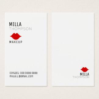 Cartão De Visitas pro branco do salão de beleza vertical simples do