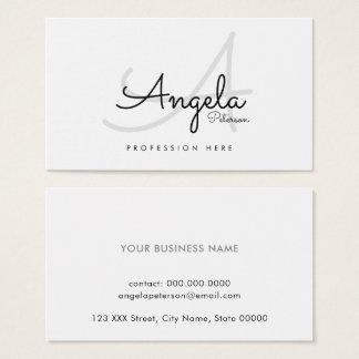 Cartão De Visitas pro contato-cartão liso branco/monograma original