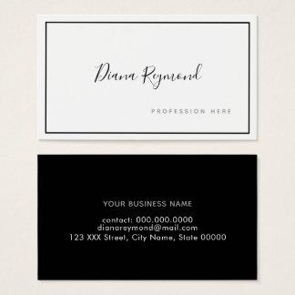 Cartão De Visitas prof. preto e branco da assinatura minimalista