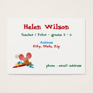 Cartão De Visitas Professor com rato e pastéis