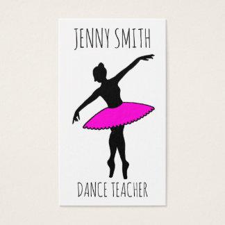Cartão De Visitas Professor cor-de-rosa da dança de dedo do pé do