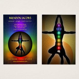 Cartão De Visitas Professor da pose de Chakras Yin Yang da ioga sete