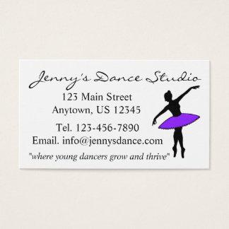 Cartão De Visitas Professor roxo do estúdio da bailarina do balé da
