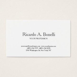 Cartão De Visitas Profissional branco simples liso clássico original