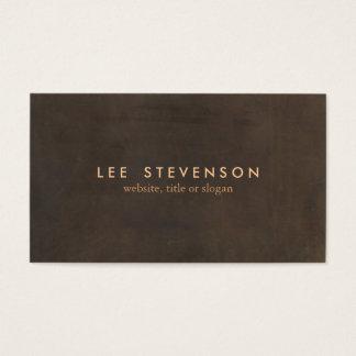 Cartão De Visitas Profissional de couro elegante simples de Brown