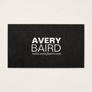 Cartão De Visitas Profissional de linho do falso preto simples