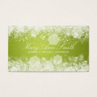 Cartão De Visitas Profissional do verde limão da noite Sparkling
