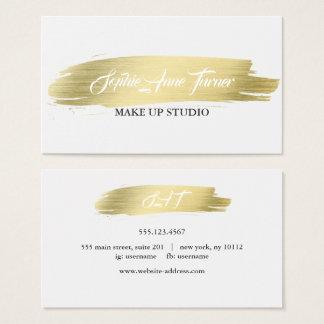 Cartão De Visitas Profissional elegante do curso da escova do ouro